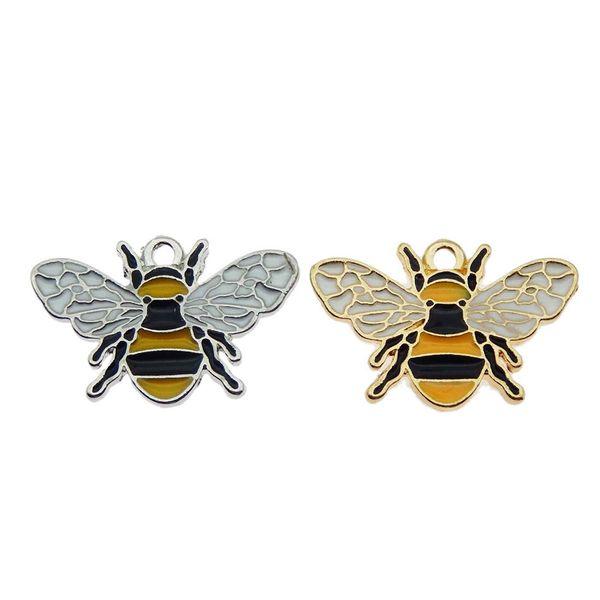 50PCS mixture Colorful Enamel Honeybee Shiny Acrylic Rhinestone CZDecored Bee Pendant Charm DIY Women Earring Jewelry Finding