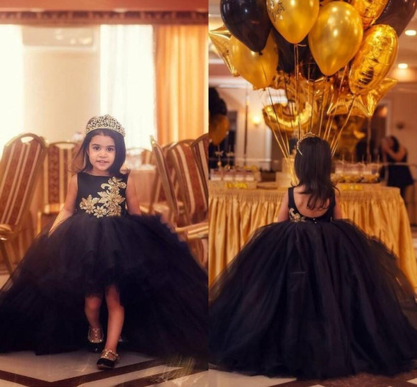 2018 Black Ball Gown Flower Girl Dresses Jewel Gold Lace Applique Backless High Low Tiered Ruffles Child Kids Prom Pageant Gowns For Wedding