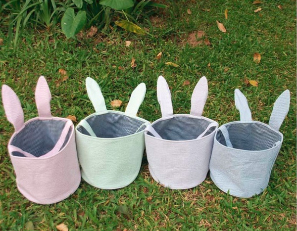 Easter Bunny Ears Basket Canvas Bags Tote Stuffers Egg Cross-stitch Line Burlap Gift Bag Round Tote Jute Bags for Embroidery DIY Daily use