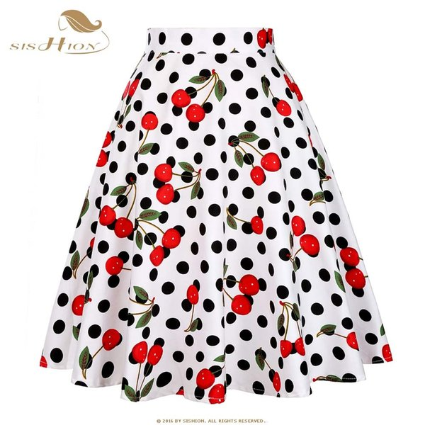 SISHION Plus Size Skirts Womens 2018 Vintage Short Tutu Skirt Floral Dots Candy Colors Summer Skater Women Skirt jupe femme D1891705
