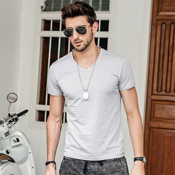 FGKKS 2018 New Summer T Shirt Mens Solid Color Cotton Short Sleeve T shirt Men Slim Fitness Causal T-shirt Male Tops