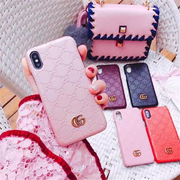 Per Galaxy S10 e S9 S8 plus Nota 9 Custodia rigida in pelle di lusso con retro in rilievo N8 per Iphone X XS Max XR 8 7 6 6S Plus Fashion Brands Custodia per telefono