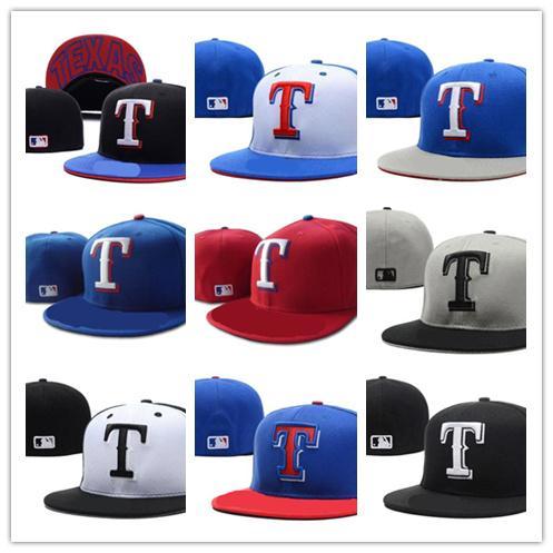 Cool Hot Rangers bleu haut bord gris ajusté chapeaux plat blanc T lettre brodé fermé taille casquettes en chapeau de baseball conception hip hop One Piece