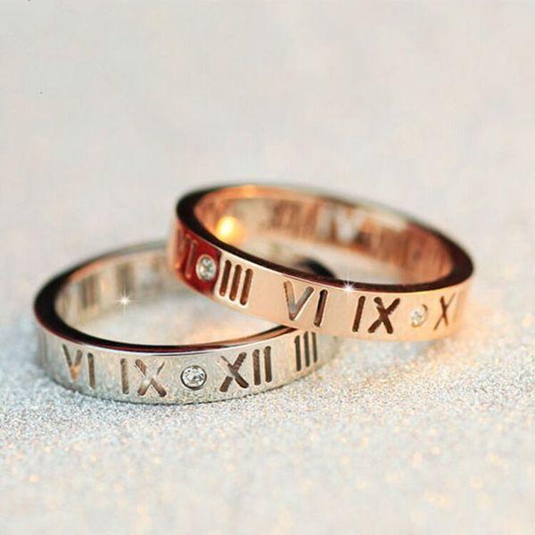 Bague à diamants pour femme avec découpe en lettres romaines, bague en or rose à la mode pour dames, bagues en argent en chiffres romains Bague pour femmes