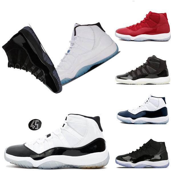 Top homem tênis de basquete sapatilha mulheres 11 11s Veludo Heiress cap e vestido de ginástica concord vermelho 45 zapatillas sports mens designer de desconto de sapatos