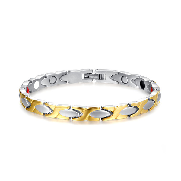 Elegant Womens Titanium Magnetic Therapy Bracelet Pain Relief for Arthritis and Carpal Silver Gold Tone