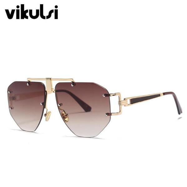 2018 Square Metal Sunglasses Unique Designer Women Sunglass Fashion Retro Semi Rimless Sunglasses Top Quality Brand Oculos UV400