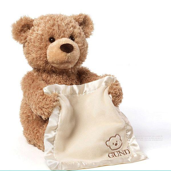 Nuovo Peek a Boo Teddy Bear Gioca a Hide And Seek Lovely Cartoon Farcito Teddy Bear Regalo di compleanno per bambini Cute Music Bear Plush Toy