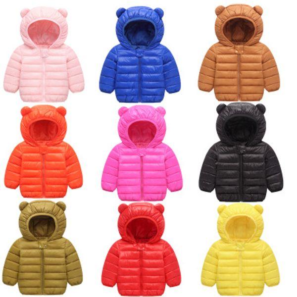 top popular Kids Down Coat Winter Hooded Outerwear Boy Girl Long Sleeve Down Jacket Cute Ear Designer Clothes Children Solid Warm Overcoat YFA564 2021