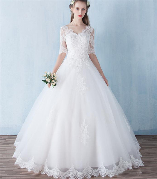 Beaded Lace Ball Gown Wedding Dress With Appliques Floor Length