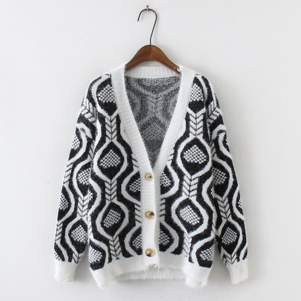 PERHAPS U Women long black navy blue v neck single breasted button knitted loose sweater cardigans mohair M0063