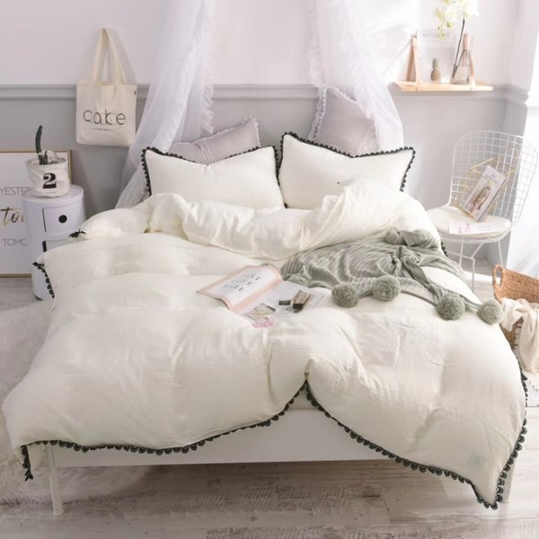 Ms.O 100% Cotton Princess Pink Contrast Solid Color Plain Embroidered Lace Duvet Cover Set Modern Wedding Decoration Bedding Set