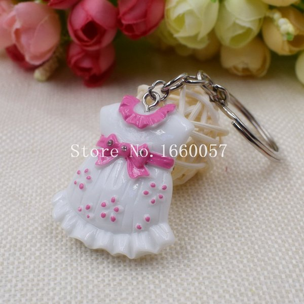30pcs / lot regalo della doccia di bambino di alta qualità vestiti svegli del bambino della catena chiave Portachiavi blu per il ragazzo rosa per la ragazza