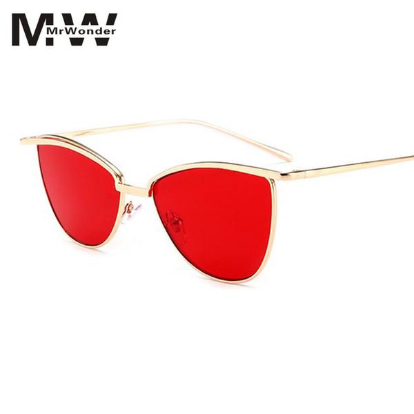 0b36a2d37e3 MISSKY Retro Cat Eye Sunglasses Women Yellow Red Lens Sun glasses Fashion  Light Weight Sunglass Vintage