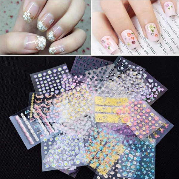 Art Stickers Decals New Arrive 50pcs/set 3D Flower Stickers Self-adhesive Mix Color Cheap Nails Art Decorations Nail Decal Nail Tools DIY