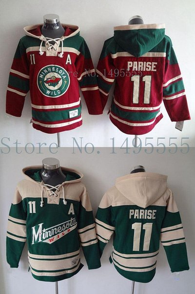 Factory Outlet, Minnesota Wild #11 Zach Parise Jerseys Old Time Men's Double stiched Hoodies Hockey Jersey Green Sweatshirt