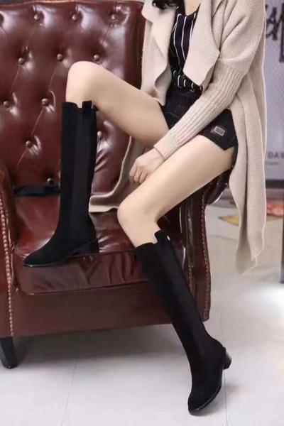fashionville*u675 40 black genuine leather rubber knee high flower flat boots c fashion women vogue brand.