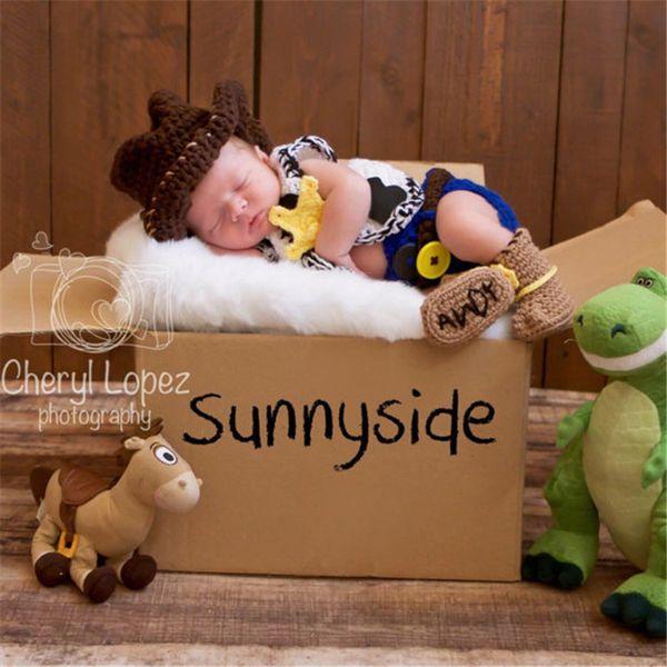 Neueste Newborn Boy Cowboy 5 Stück Set Kostüm Gestrickte Jungen Fotografie Requisiten Stricken Neugeborenen Dusche Geschenk