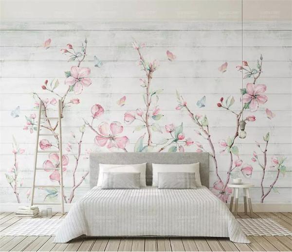 Compre Colorido Sakura Oriental Cherry Blossom Flower Mural Foto Wallpaper Decoración De La Pared Pintura De La Mano Floral Butterfly Wallpapers Roll