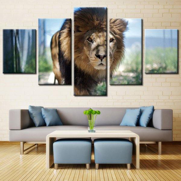 Canvas Wall Art Framework Living Room HD 5 Panel Lion Animal Modular Decoration Posters Picture On Home Printed Modern Painting