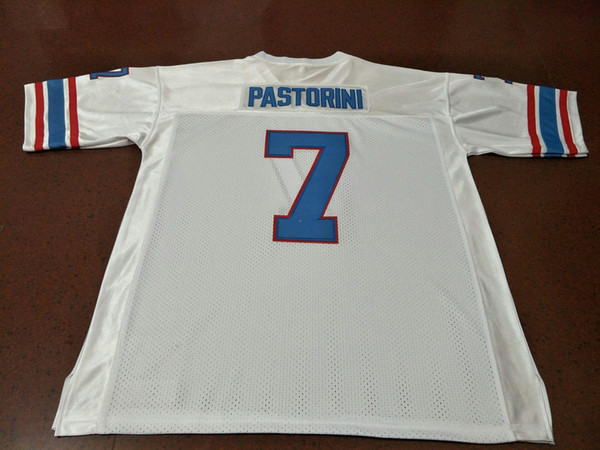 top popular CUSTOM Men #7 UNSIGNED Sewn Stitched Dan Pastorini Blue White College Jersey size s-4XL or custom any name or number jersey 2019