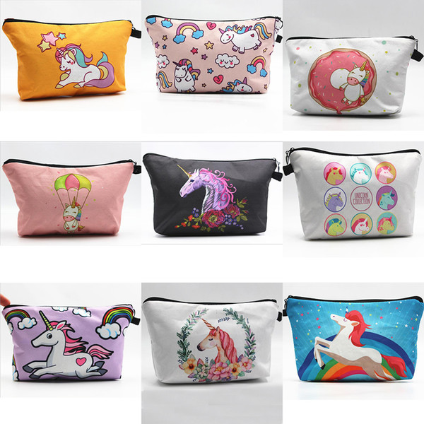 Hot Fashion Cute Unicorn Pattern Womens Cosmetic Bags Party Home Lovely Storage Cases Gifts Free Shipping