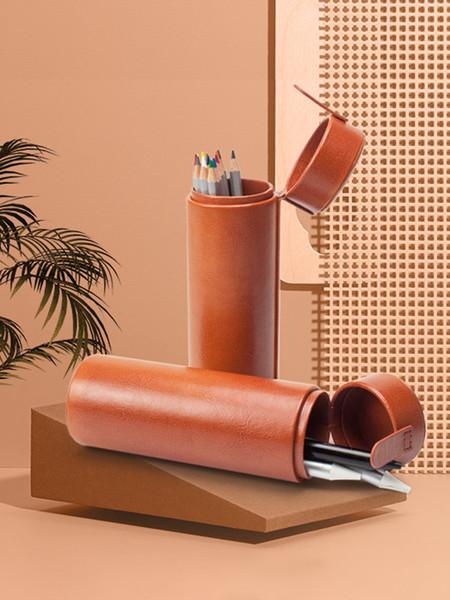 Multi função caneta titular, caneta saco, 2 em 1 portátil coreano compacto anti choque cilindro de compressão caixa de armazenamento de artigos de papelaria