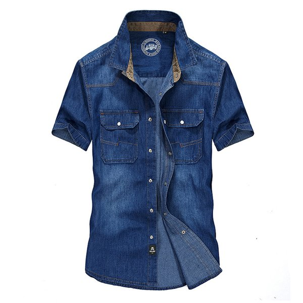 2018 Summer Blue Men's Short Sleeve Denim Shirts M L XL 2XL 3XL Fashion Casual Men Shirt Slim Elegant Cotton Shirt 65wy