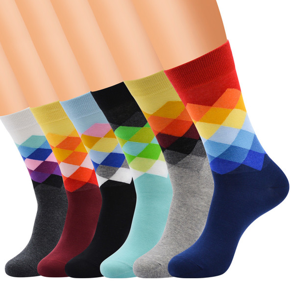 best selling 10pairs High quality brand happy socks British Style Plaid Socks Gradient Color Male's Fashion Personality Cotton Socks