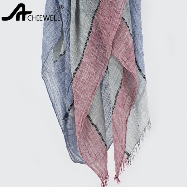 ACHIEWELL 205*80cm Vintage Stitching Double Color Scarf Cotton Linen Shawl Female Cotton Scarves for Women Men Adults