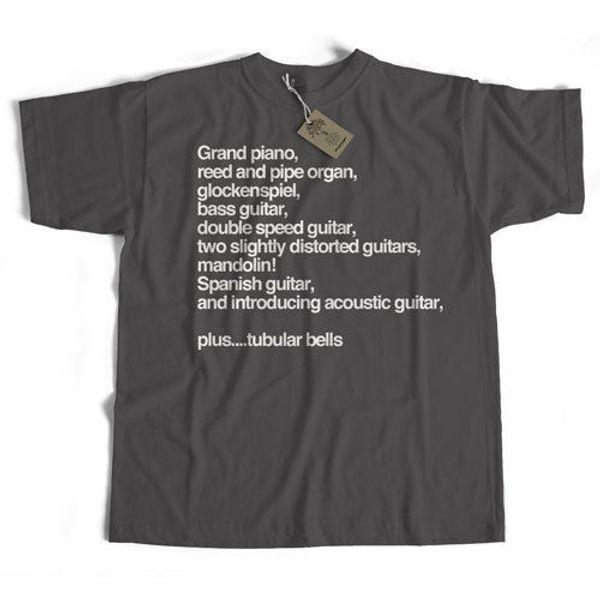 Ispirato da Mike Oldfield T-Shirt Tubular Bells Instruments Old Skool Hooligans Divertente spedizione gratuita Unisex Casual tee regalo