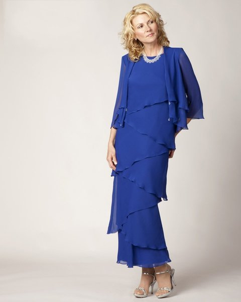 Tiered Layered Elegant Blue Plus Size Long Mother Of The Bride Dress With Jacket 2018 Chiffon Formal Mother Evening Dress