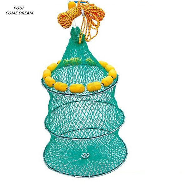 POUI COME DREAM D45*L60cm Fish Creel Fishing Net China Outdoor Pesca Fishing Network Shrimp Net Shrimp Cage Float Fishing Cage