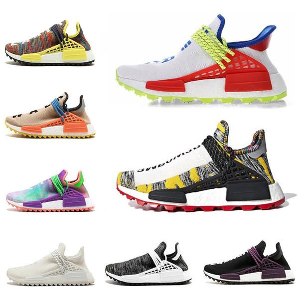 Pas cher Nouvelle race humaine Afro Hu Trial NERD Blanc Pharrell Williams hommes chaussures de course Solar Pack femmes formateurs sport sneaker taille 5-12