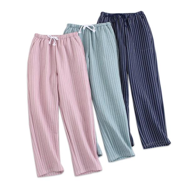 100% хлопок акваланг ткань сна днища женщины стеганые пижамы брюки зима теплая мода полосы гостиная брюки женские домашние брюки