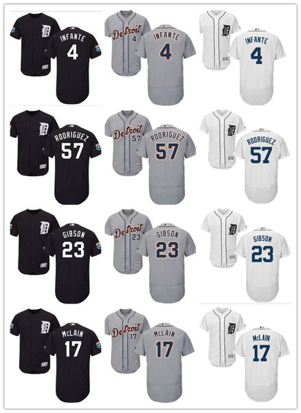 Hombres Detroit Custom Tigers Jersey # 17 Denny McLain 23 Kirk Gibson 23 Willie Horton 4 Cameron Maybin 57 camisetas de béisbol Francisco Rodriguez