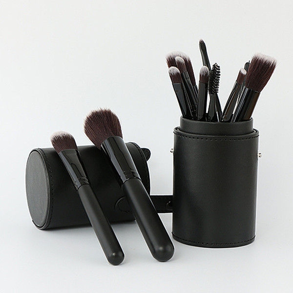 7 Colors 12 PCS Makeup Brush Set+Cup Holder Professional 12 pcs Makeup Brushes Set Cosmetic Brushes With Cylinder Cup Holder