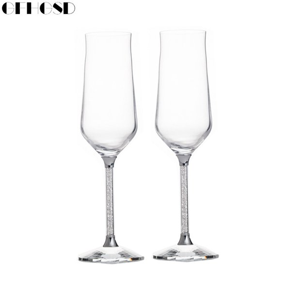 GFHGSD Champagne Glass Flutes Perfect for Wedding Gifts, Set of 2, Luxury K9 Crystal Toasting Flutes and Wine Glasses RFG102