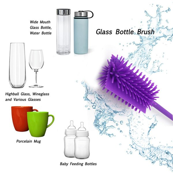 Silicone Bottle Cleaning Brush - Flexible Ergonomic Design - Best for Cleaning Baby Bottles, Long or Narrow Necked Bottles,Thermos,Vases