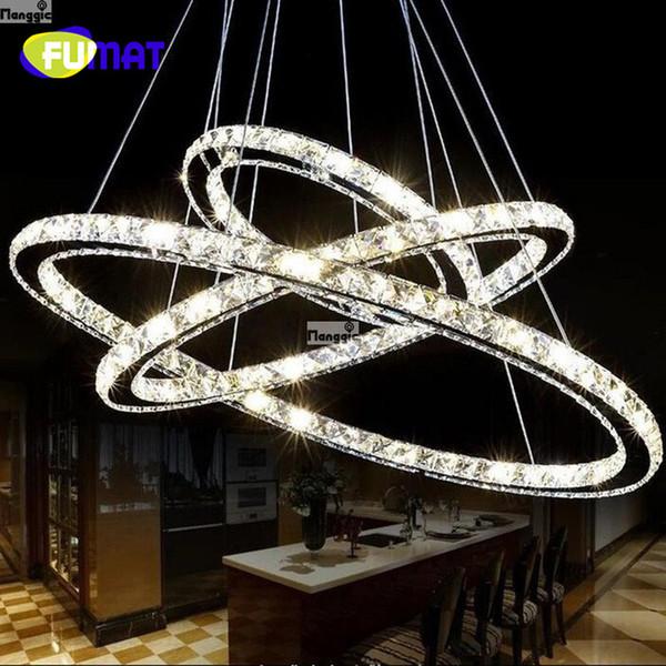 FUMAT Mirror Stainless Steel Crystal Diamond Lighting Fixtures 3 Rings led Pendant Lights Cristal Dinning Decorative Hanging Lamp