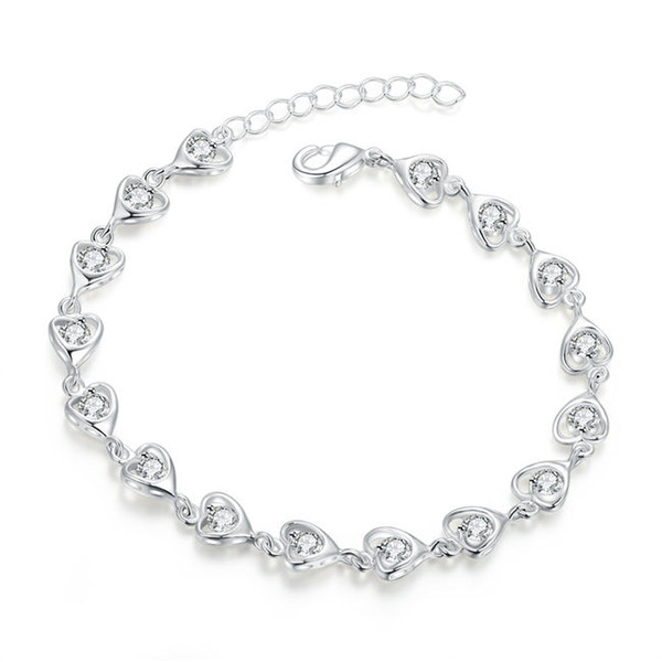 White heart shaped zircon cable chain sterling silver plated bracelet ; High quatity fashion men and women 925 silver bracelet SPB370