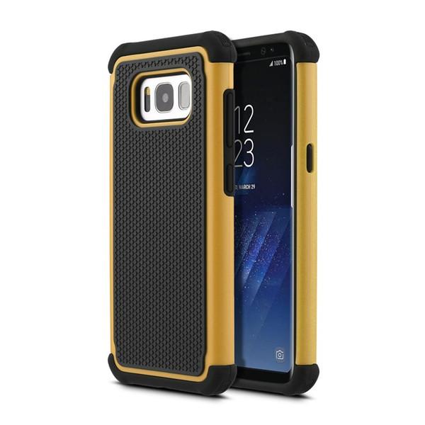 Cubierta de la caja del teléfono a prueba de choques de plástico Grano de fútbol Combo para Samsung Galaxy S8 S7 S6 S5 S4 mini caso de la cubierta híbrida
