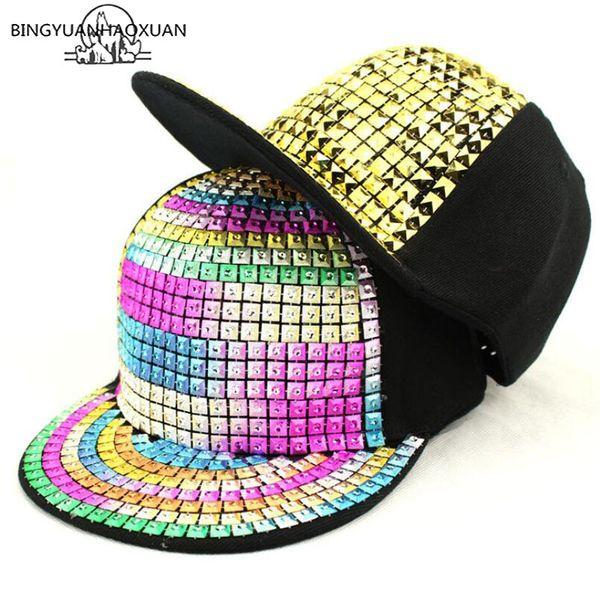 BINGYUANHAOXUAN Çocuklar Moda Perçin Hip Hop Snapback Şapkalar Altın Gümüş Kristal Marka Beyzbol Şapkası Lüks Ebeveyn-çocuk Kap Gorras