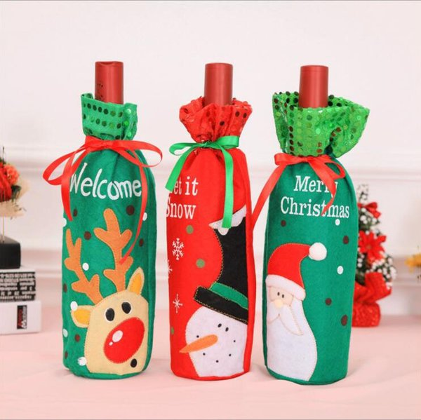 3 Style Cartoon Christmas Red Wine Bottle Bags With Tether Bar Club Beer Bottle Cover Christmas Decoration Props Santa Claus Snowman Elk
