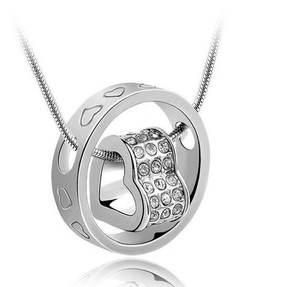 18K Or Blanc Plaqué Bijoux En Cristal Autrichien Pendentif Coeur Cercle Collier pour les Femmes Fait Avec Swarovski Elements Colliers En Vrac à Vendre