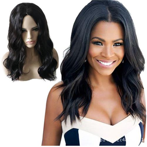 Cheap Long Body Wave Synthetic Natural Black Hair Wigs Full Side Bang Wig for Women Heat Resistant Wig