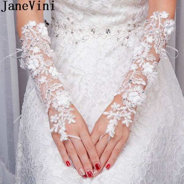 JaneVini White Beaded Fingerless Bridal Lace Gloves Long Elbow Length Flowers Appliques Women Wedding Gloves Bride Accessories 2018