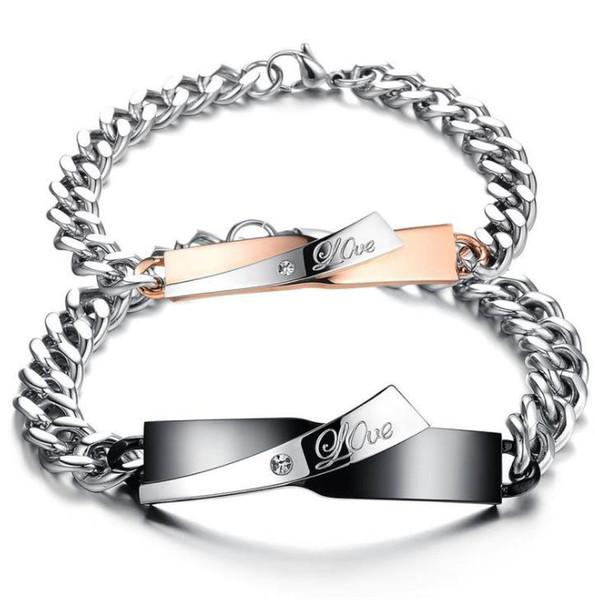 classic design Bracelet Anniversary Gift Stainless Steel Jewelry Couple Bracelets Bangle For Lover Men Women love design