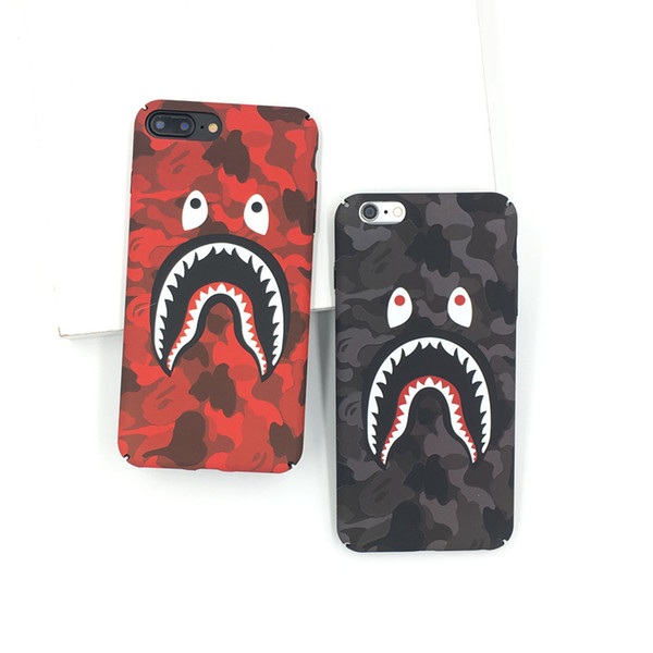 For iphone x phone ca e fa hion camouflage hark mouth pattern matte hard pc ca e for iphone 7 8 6 6 plu cover coque