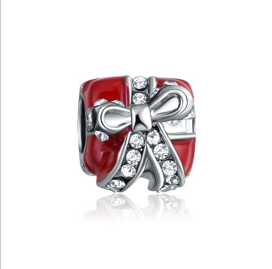 Big Hole Crystal Silver European Beads Accessories Fit Pandora Charms for Bracelets Wholesale for Girls Women Mom Love Pink Red Gift Box
